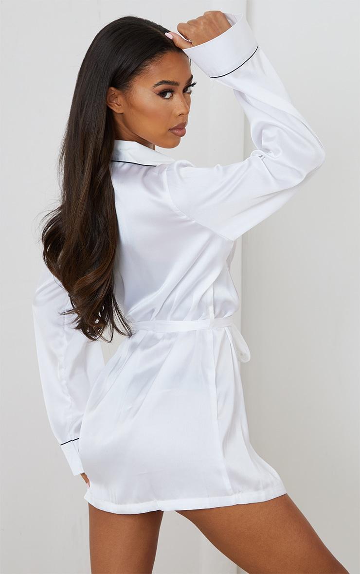 White Satin Piped Robe 2