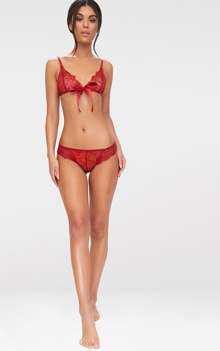 Red  Ribbon Lace Detail Set 4