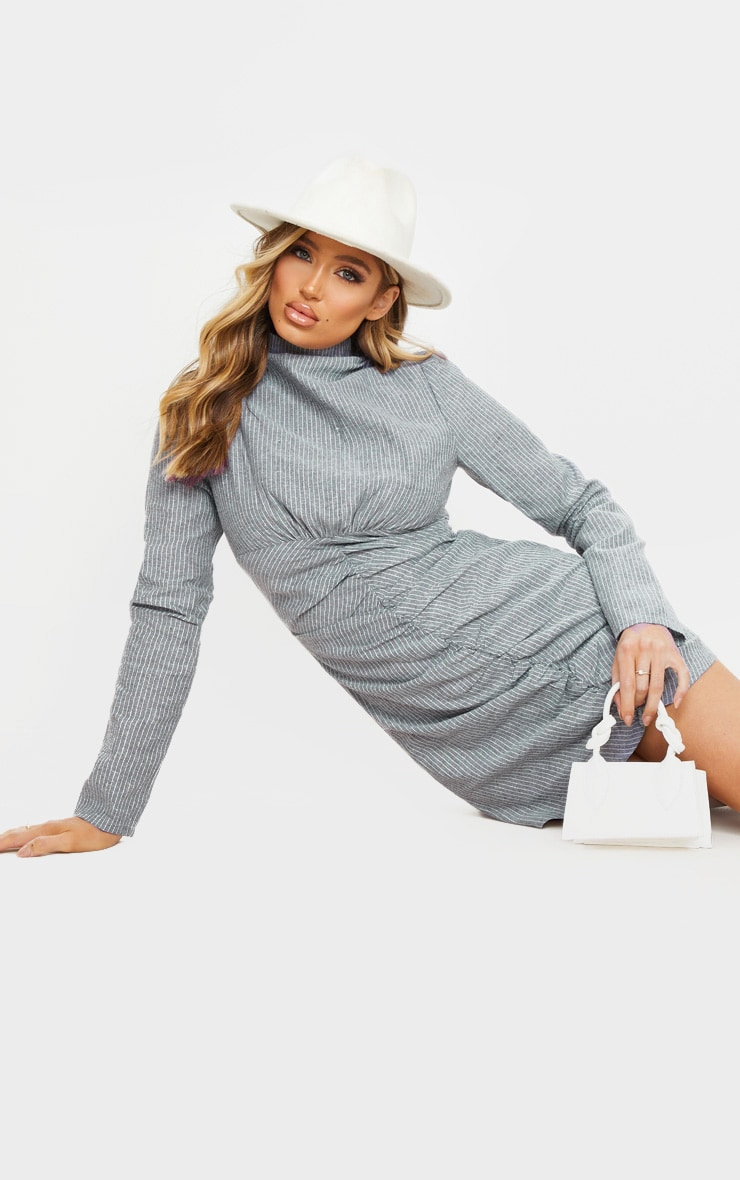 Grey Pinstripe High Neck Ruched Front Bodycon Dress 3