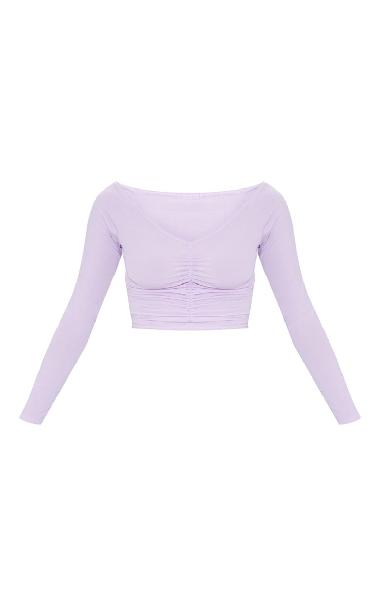 Lilac Slinky Ruched Front Long Sleeve Crop Top 5