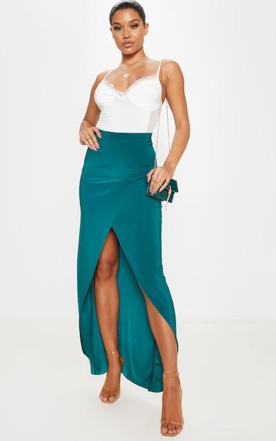 Emerald Green Slinky Extreme Split Maxi Skirt