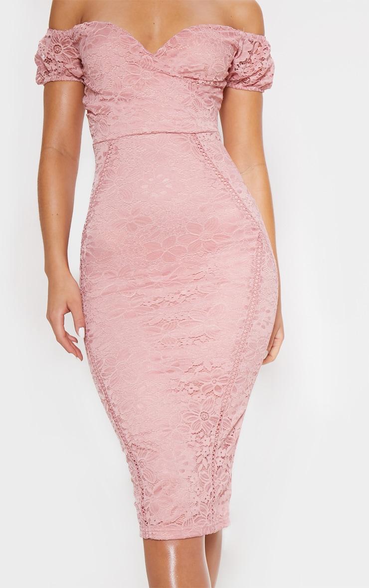 Rose Lace Bardot Wrap Midi Dress 5