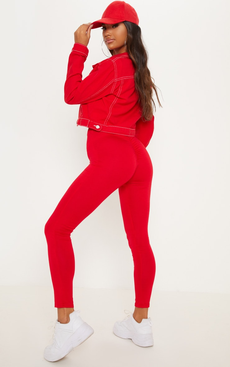 Red Ruched Back Jersey Leggings