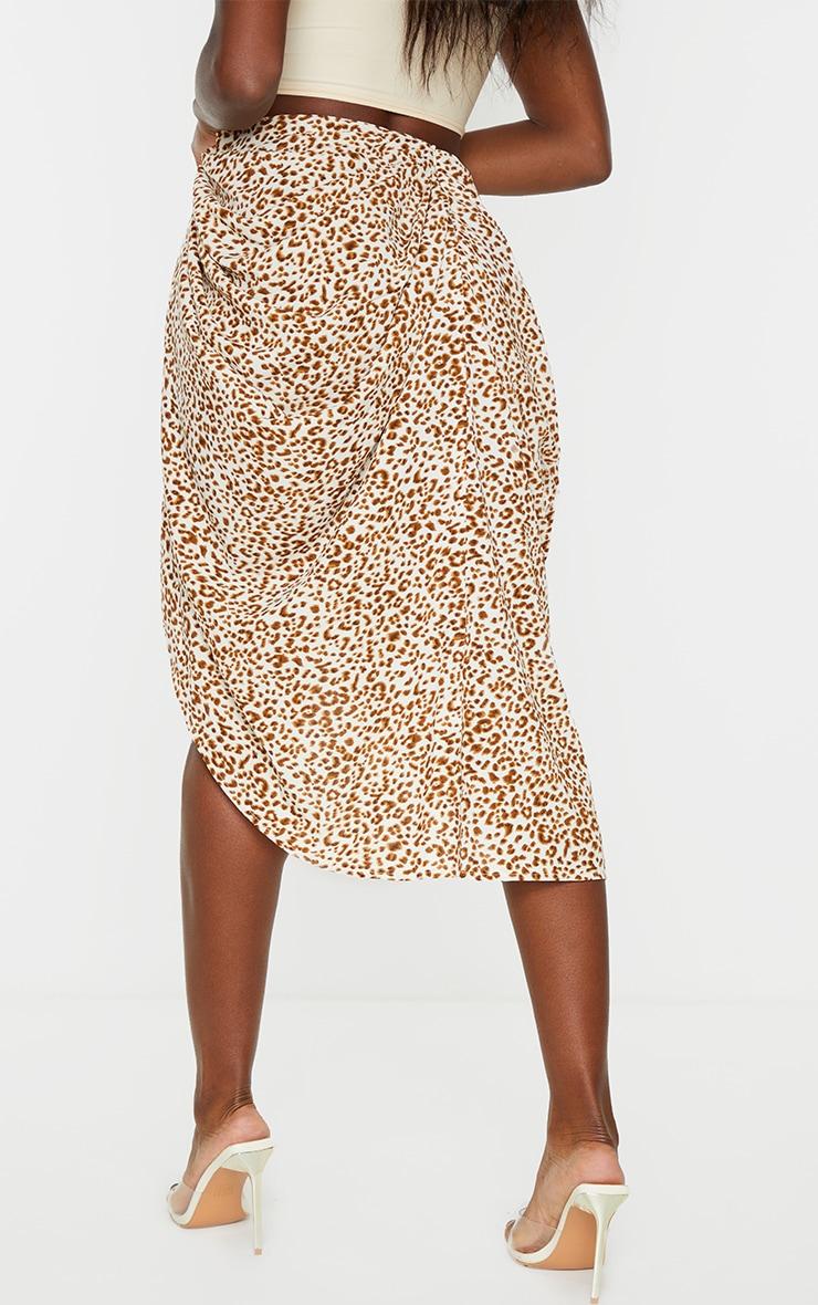 Stone Leopard Print Ruched Side Midi Skirt 3