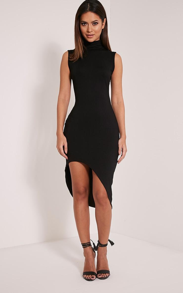 Pennie Black Curved Hem Sleeveless Midi Dress 1