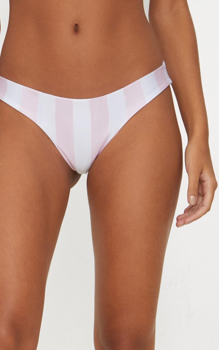 Bas de maillot de bain brésilien à rayures larges roses et blanches 5