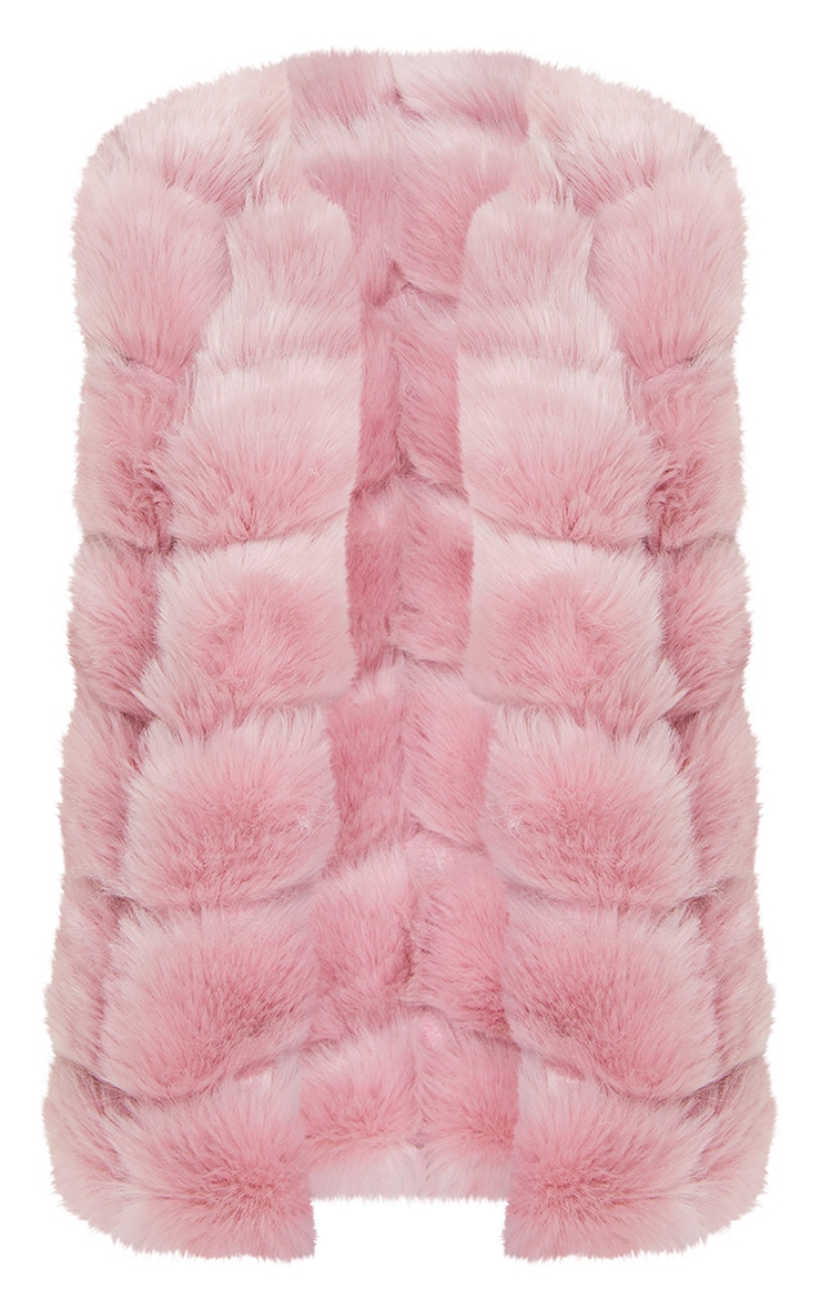 Dusty Pink Faux Fur Longline Gilet 5