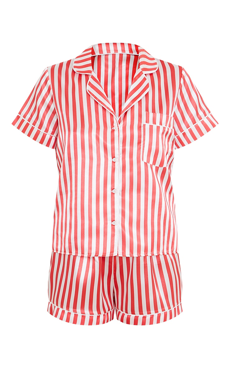 Red Stripe Satin Short PJ Set 5
