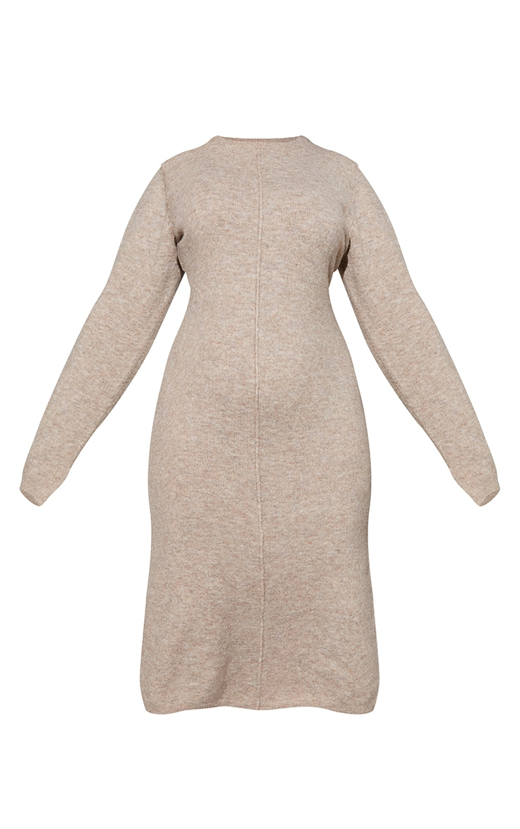 RENEW Plus Oatmeal Knitted Seam Front Midaxi Dress 5