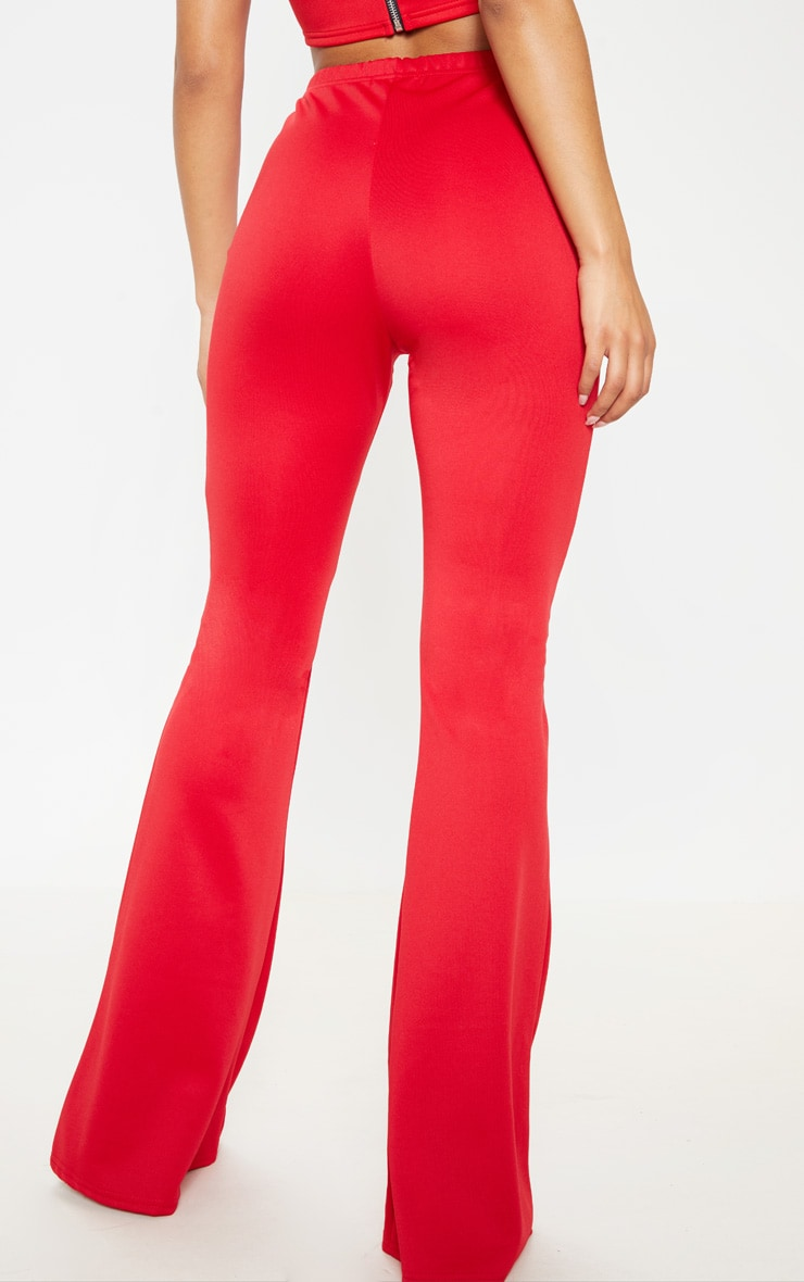 Red High Waist Extreme Flare Long Leg Pants 4