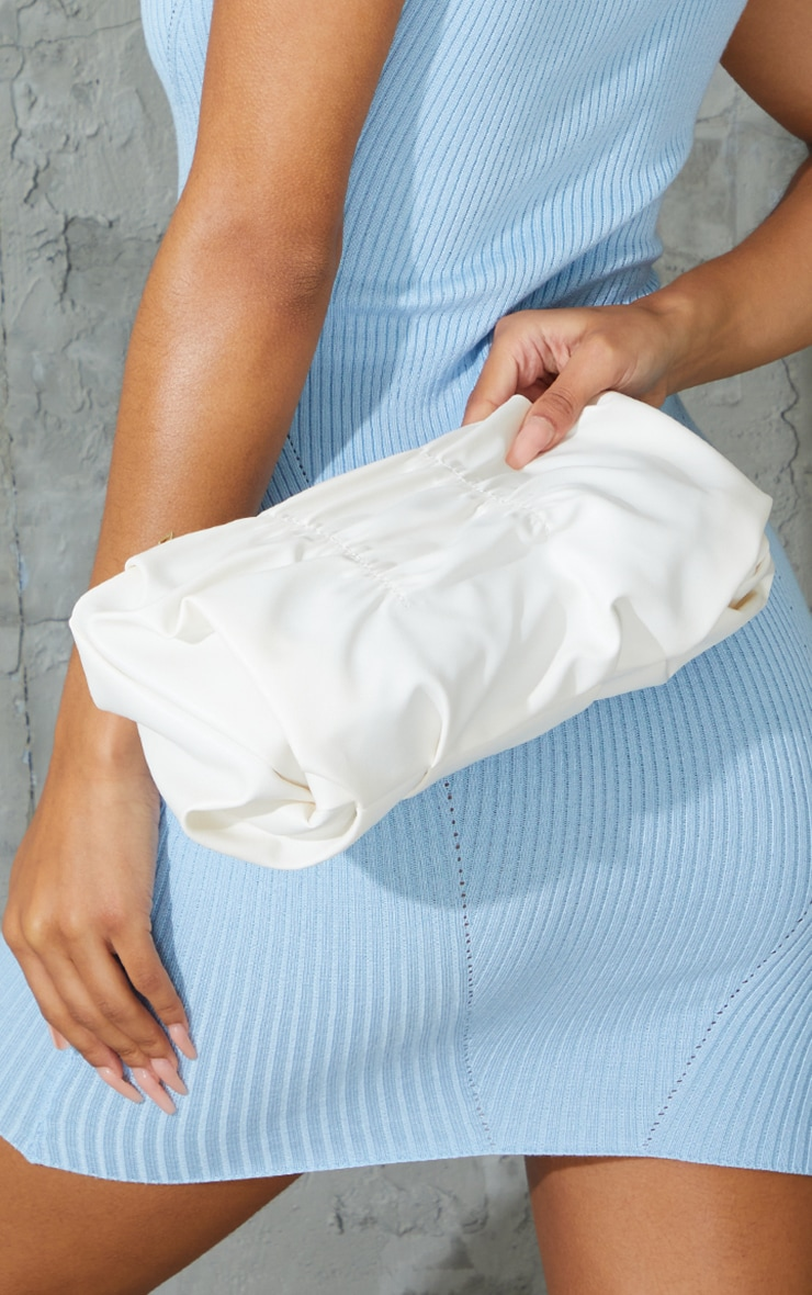 Cream Pleated Front Oversized Clutch Bag 4