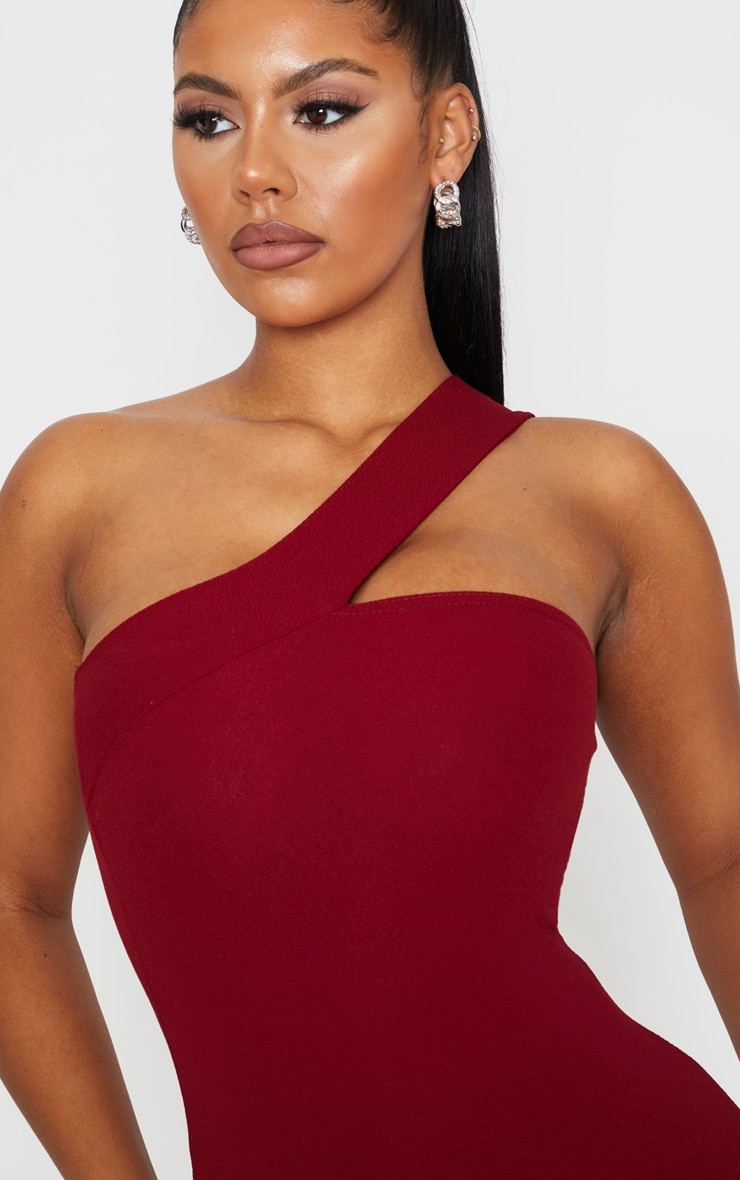 Burgundy One Shoulder  Strap Bodycon Dress 5