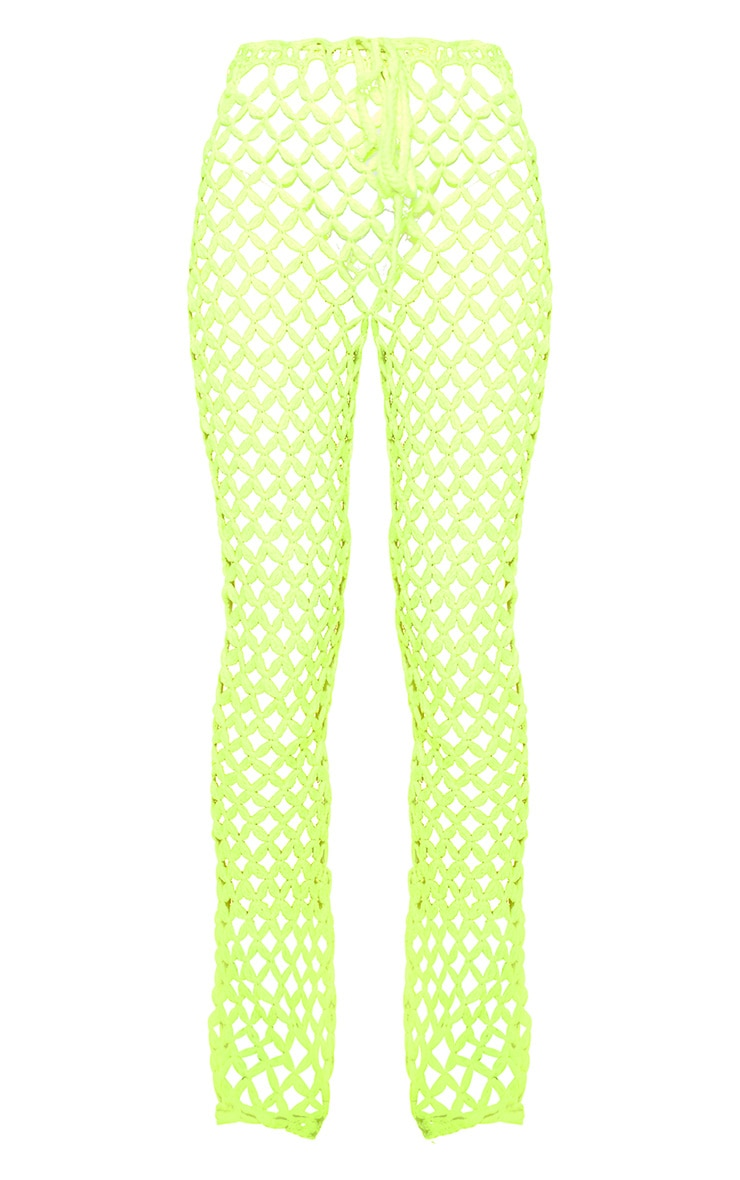 Pantalon flare en crochet vert citron 6
