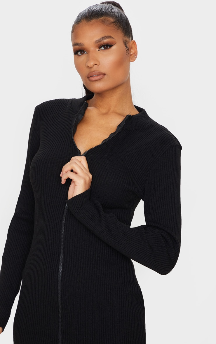 Black Double Ended Zip Knitted Dress 4