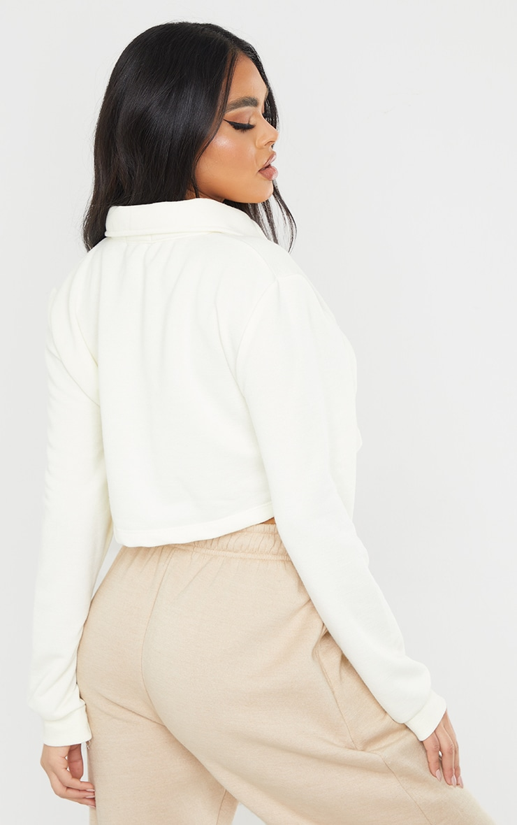 PRETTYLITTLETHING Cream Button Front Crop Polo Shirt 2