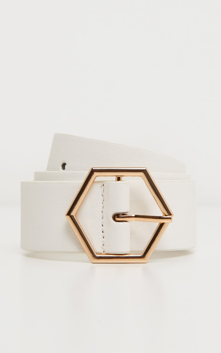 White Basic Hexagon Buckle Belt 2