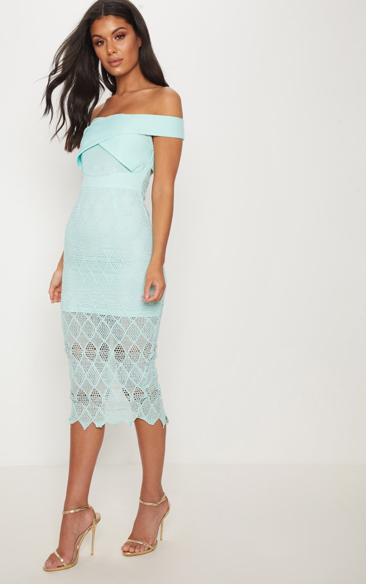 Mint Lace Strappy Bardot Midi Dress