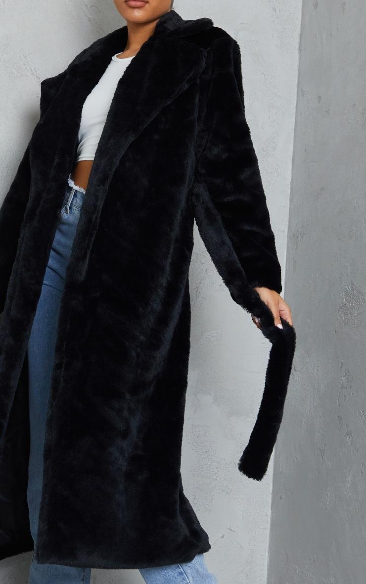 Black Belted Faux Fur Coat 4