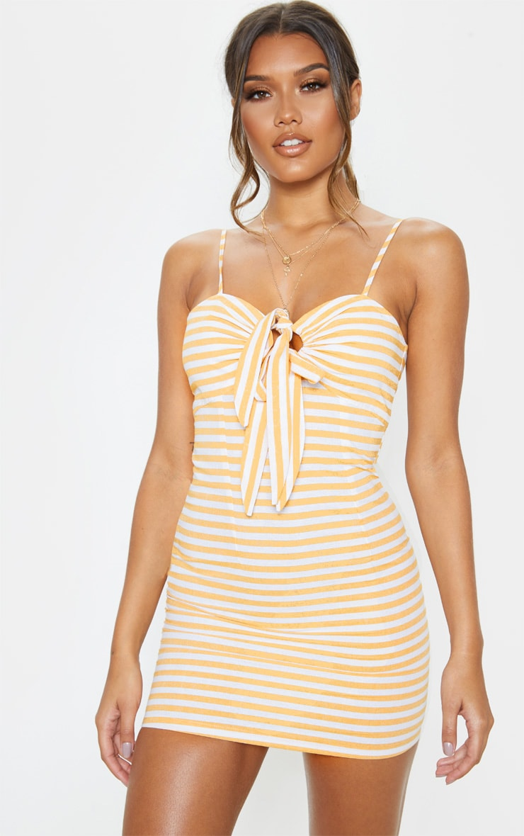 Mustard Stripe Tie Front Woven Shift Dress 1
