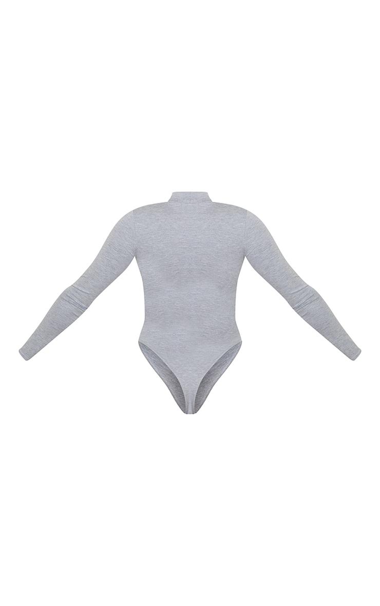 Grey Marl Long Sleeve High Neck Bodysuit 6