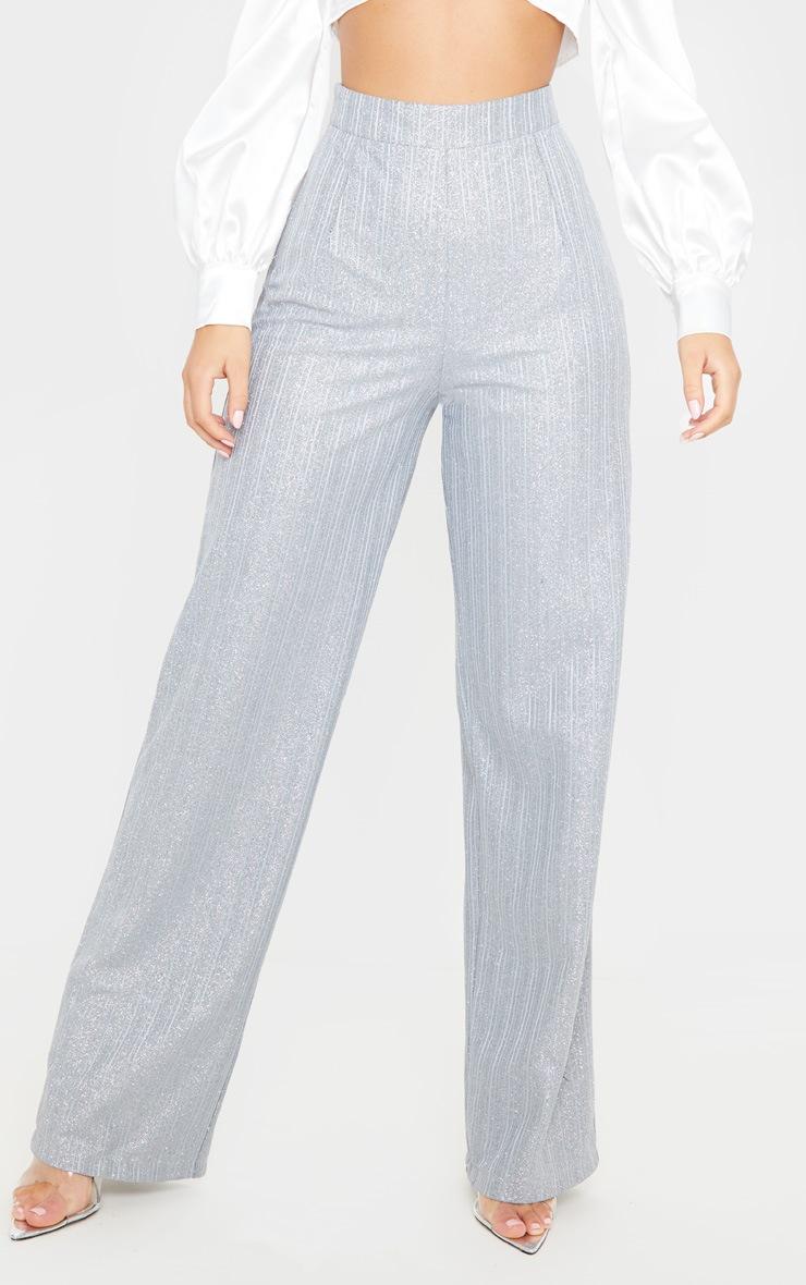 Silver Glitter Wide Leg Pleat Front Trouser 2