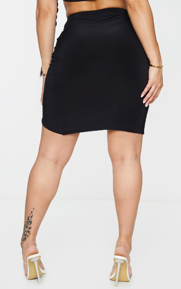 Shape Black Slinky Ruched Front Bodycon Skirt 3