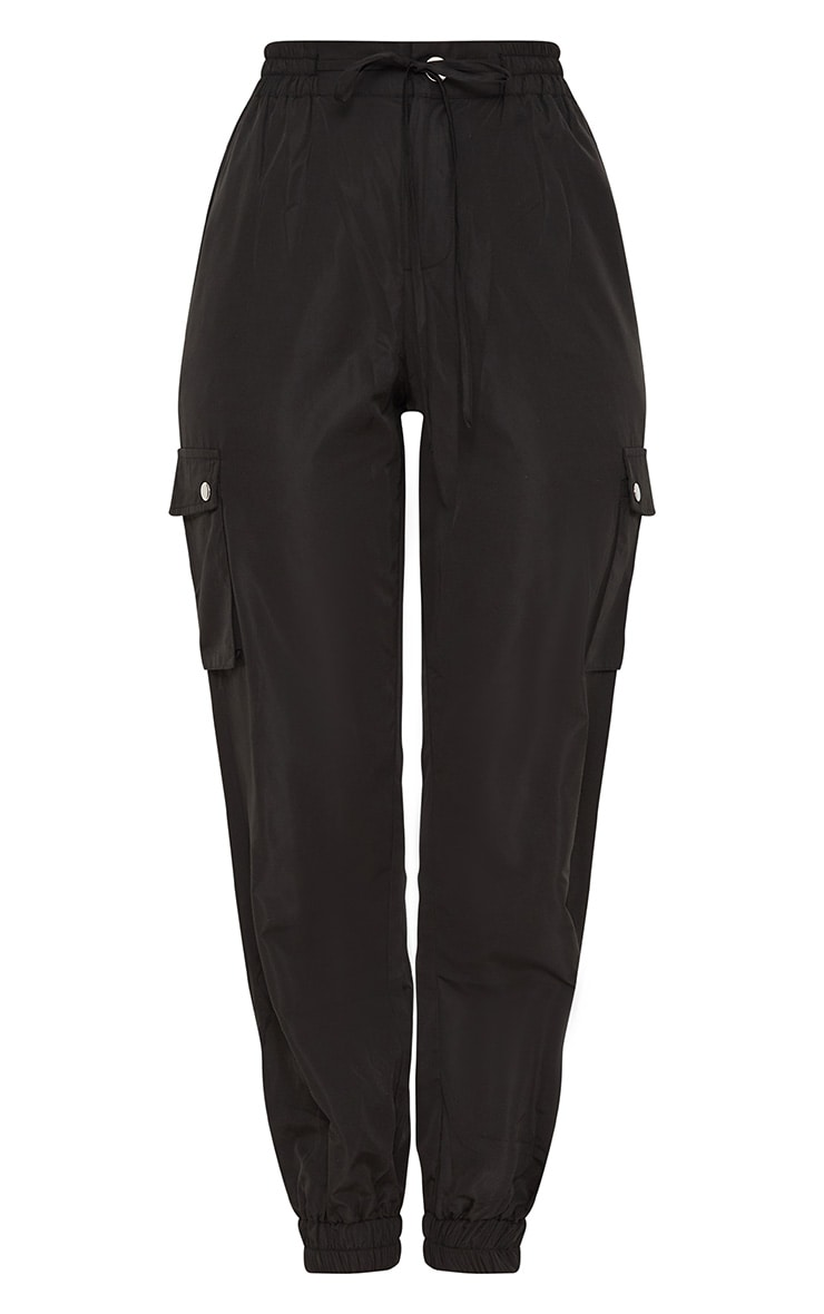 Black Shell Pocket Detail Cargo Pants 3
