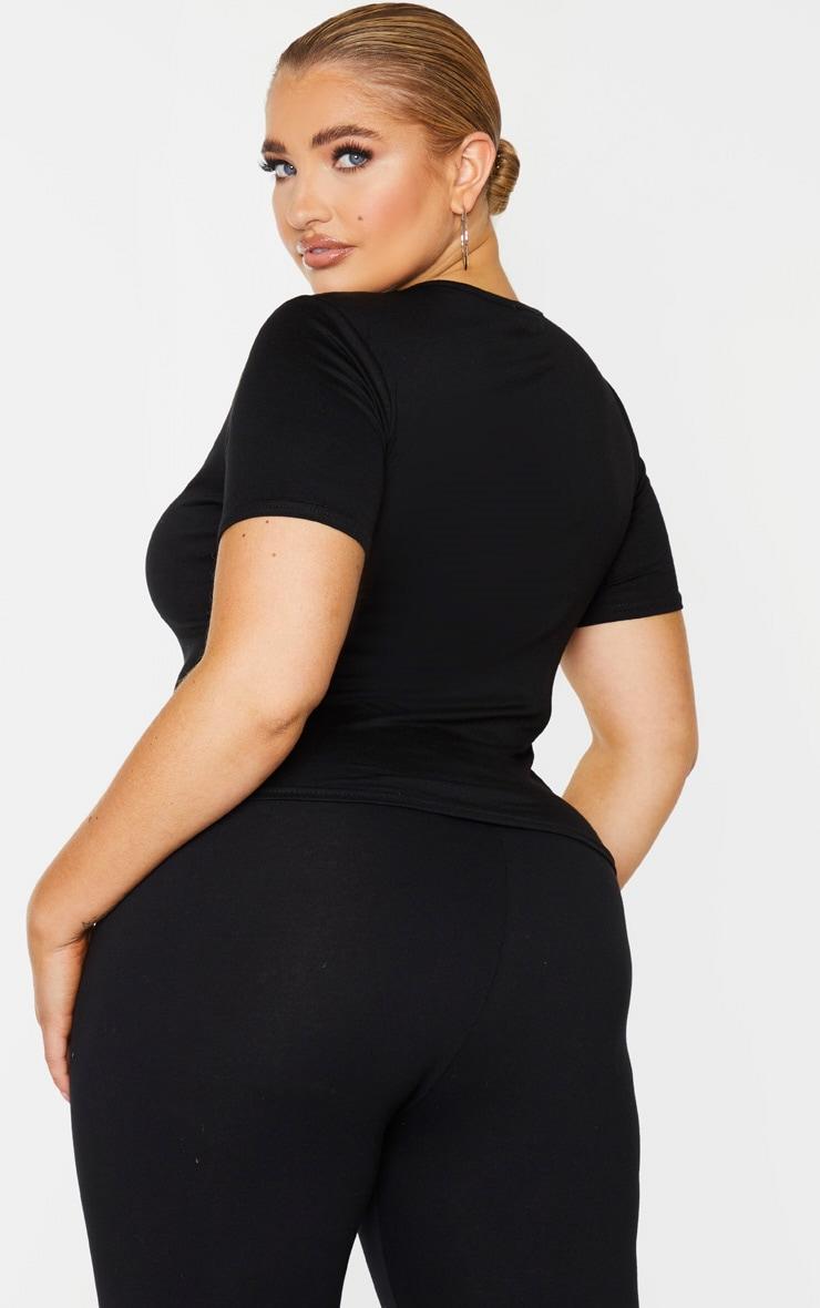 Plus Black Jersey V Short Sleeve T Shirt 2