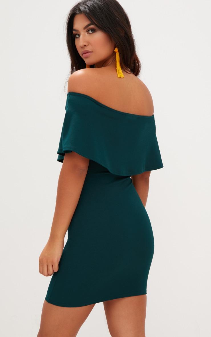 Emerald Green Bardot Frill Bodycon Dress  2
