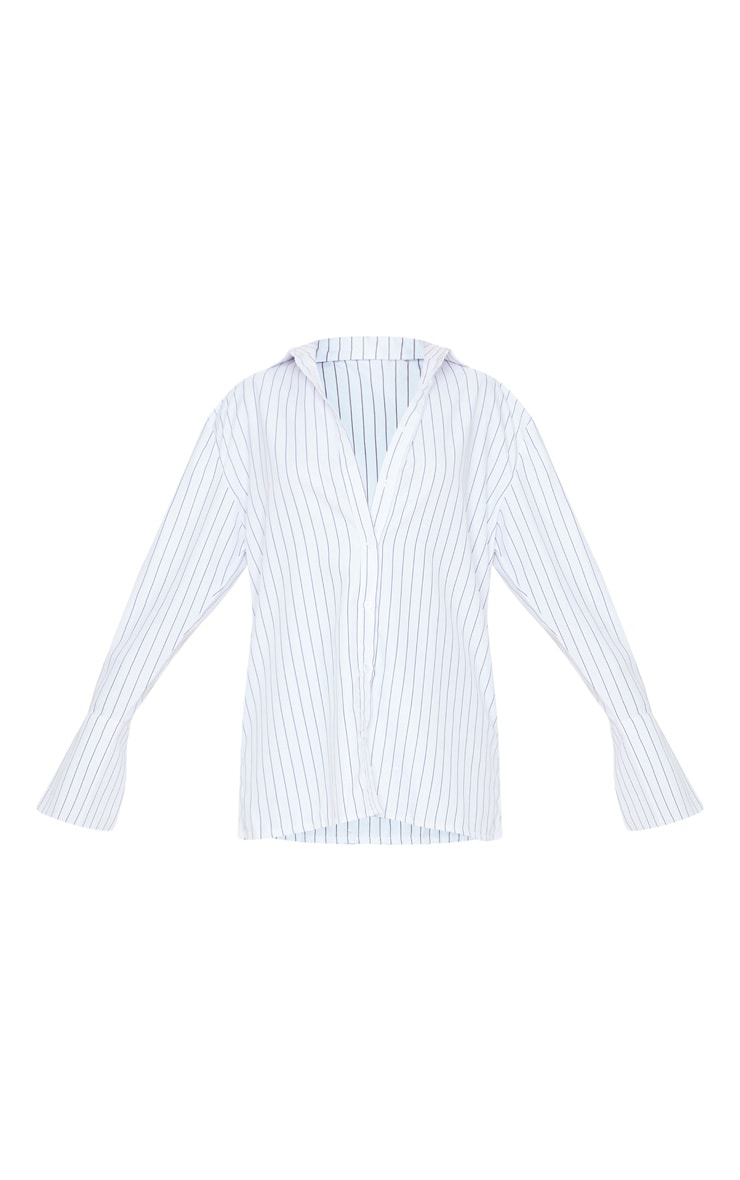 White Pinstripe Oversized Dad Shirt 3
