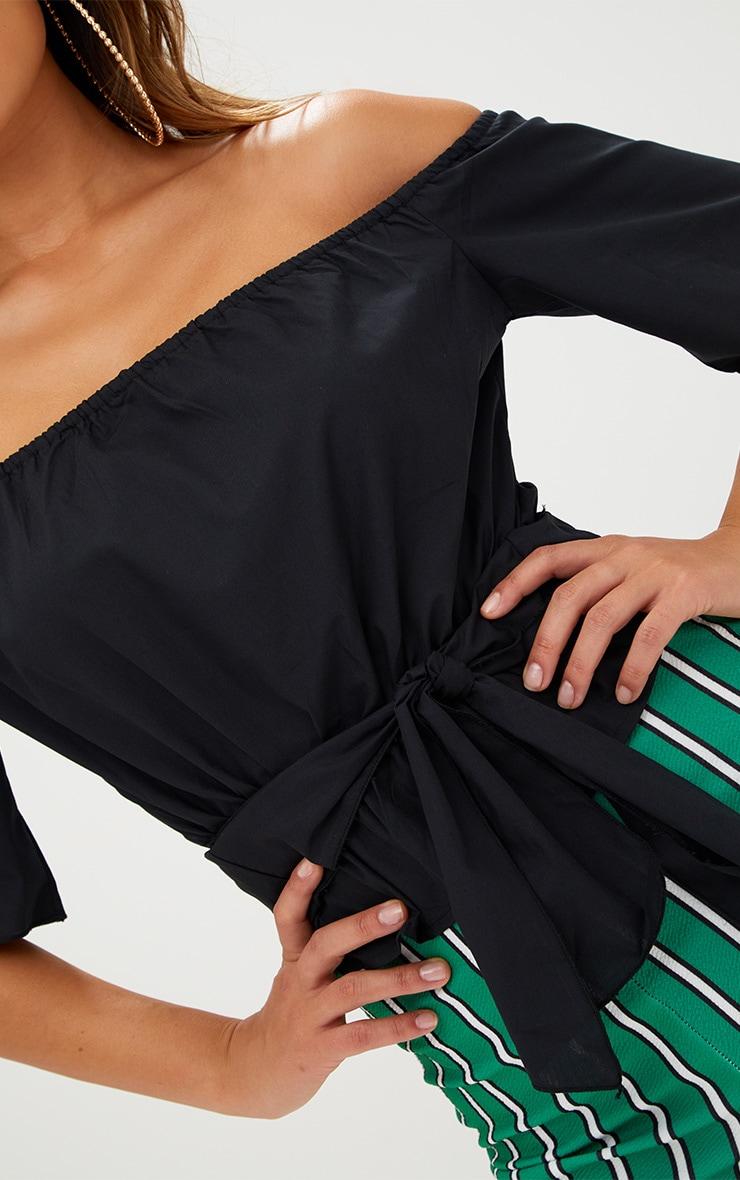 Black Shortsleeve Bardot Tie Waist Shirt 5