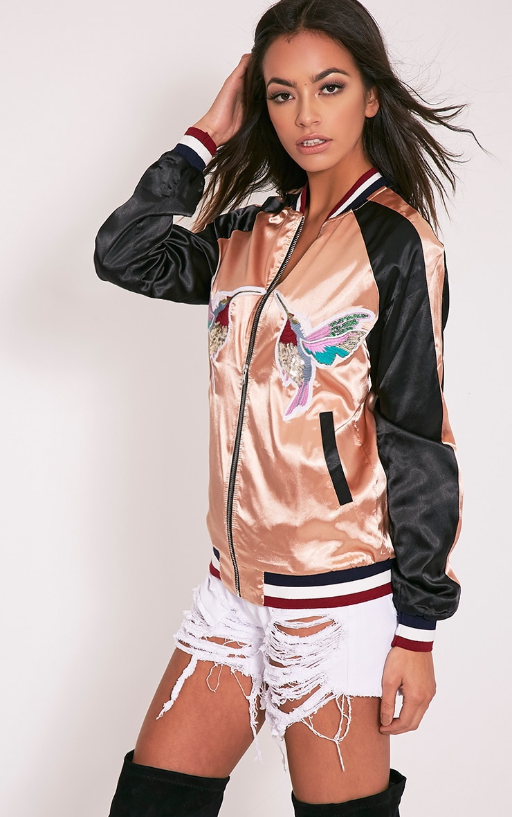 Tavie Champagne Satin Sequin Applique Bomber Jacket 8