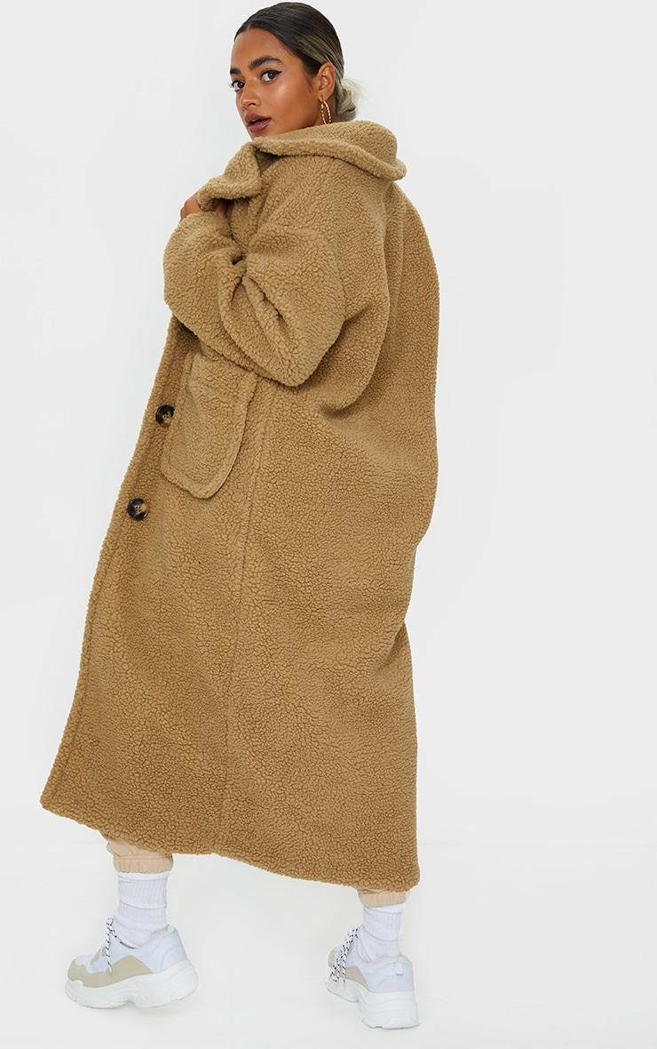 Petite Camel Maxi Borg Coat 2