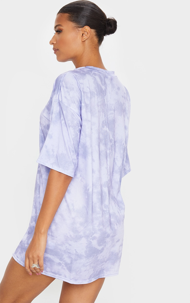 Lilac Tie Dye Oversized Boyfriend T Shirt Dress 2