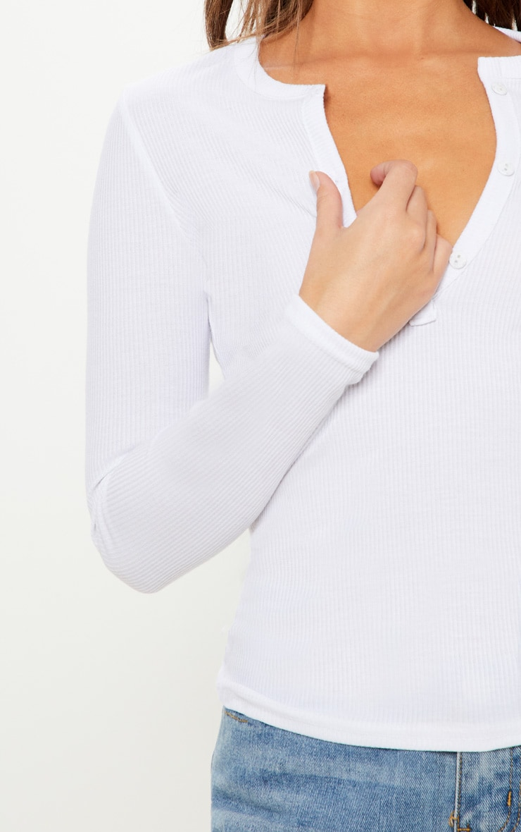 White Long Sleeve Rib Button Top 5