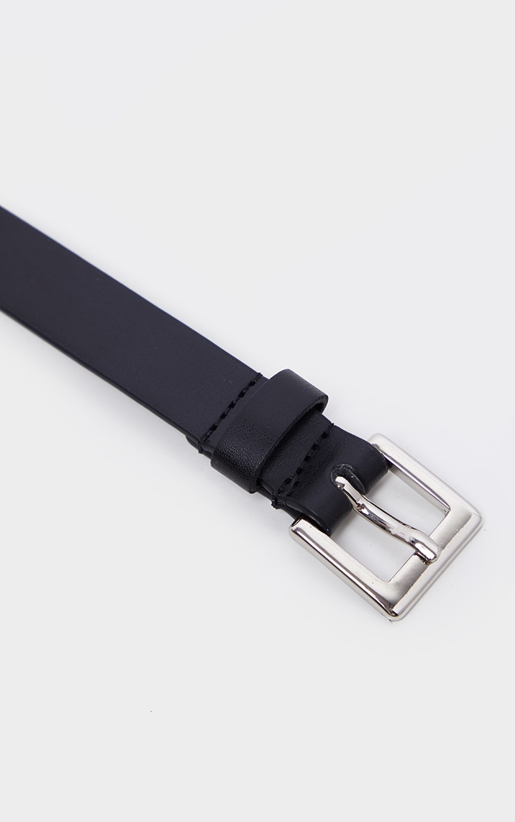 Black Square Buckle Skinny Waist Belt 3