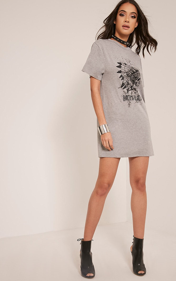 Skull Printed Grey T Shirt Dress 5