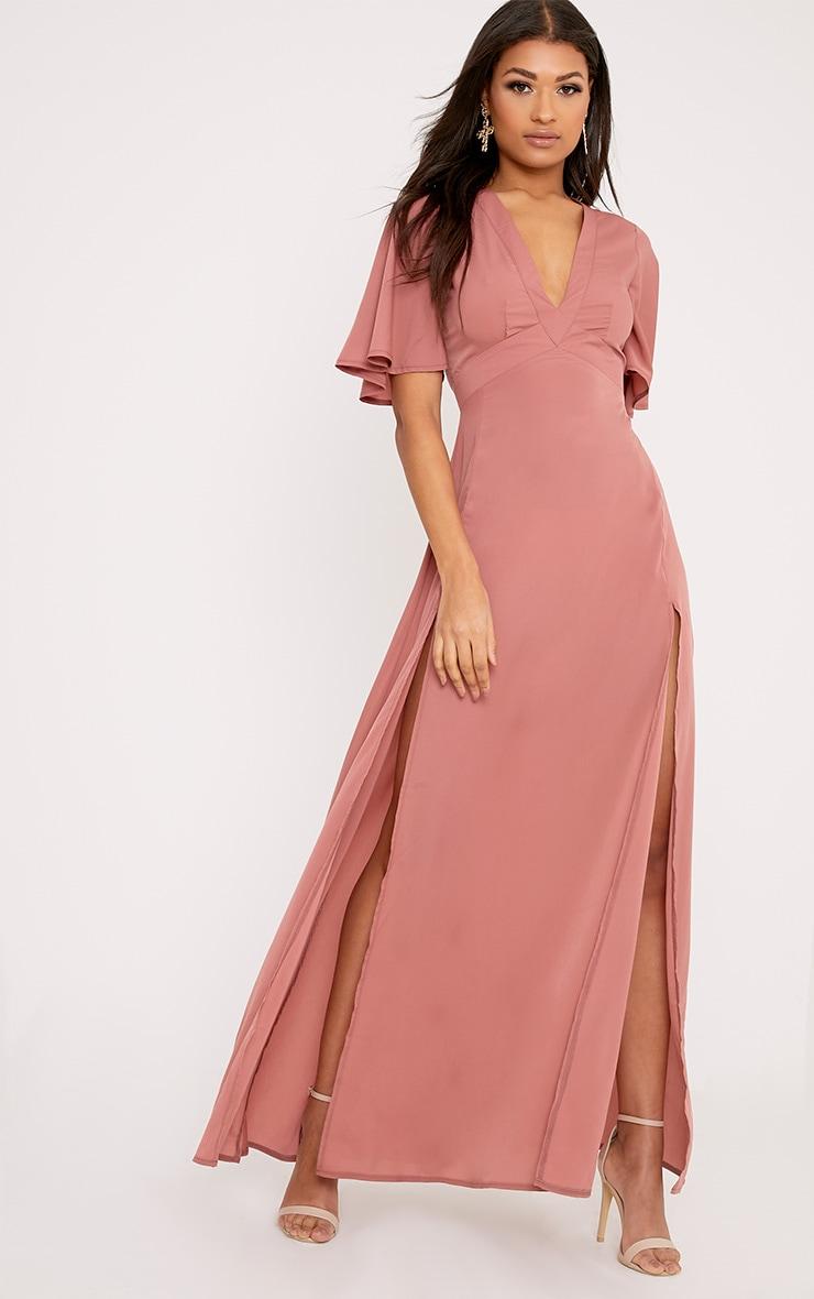 Haylia Dark Nude Kimono Sleeve Maxi Dress 1