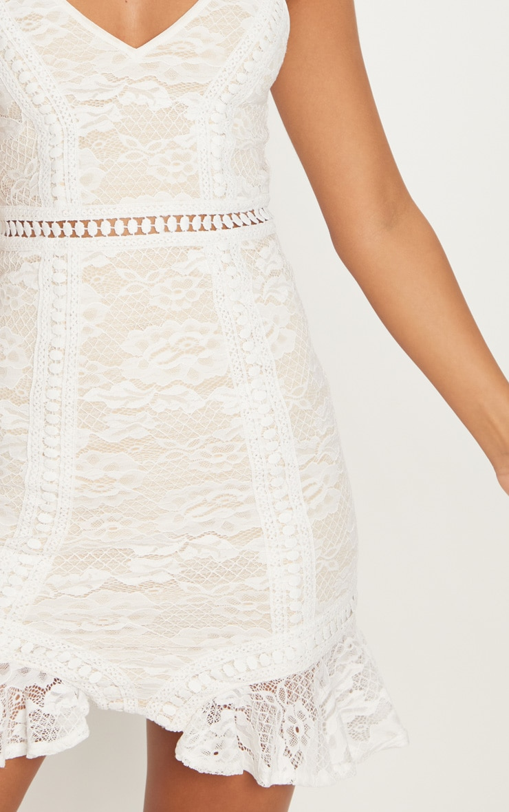 White Lace Frill Hem Plunge Bodycon Dress  5
