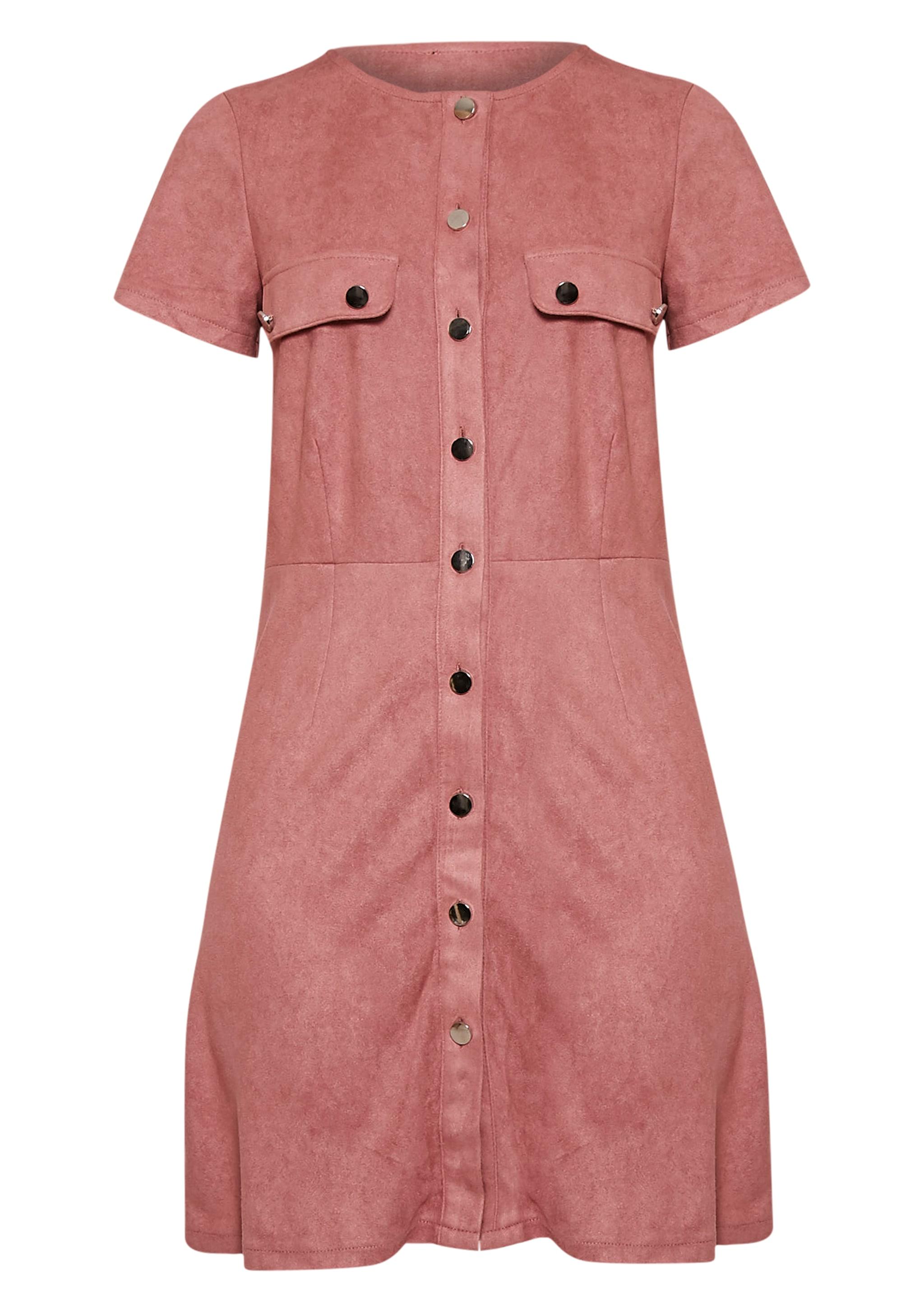 Estella Rose Button Front Suede Shift Dress 2