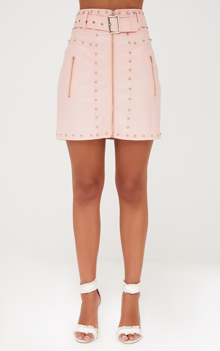 Pink Faux Leather Stud Detail Belted Mini Skirt 2