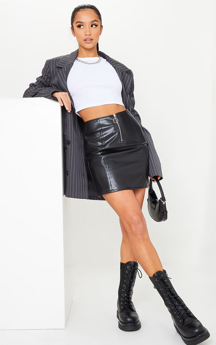 Petite Black Faux Leather Zip Through Mini Skirt 1