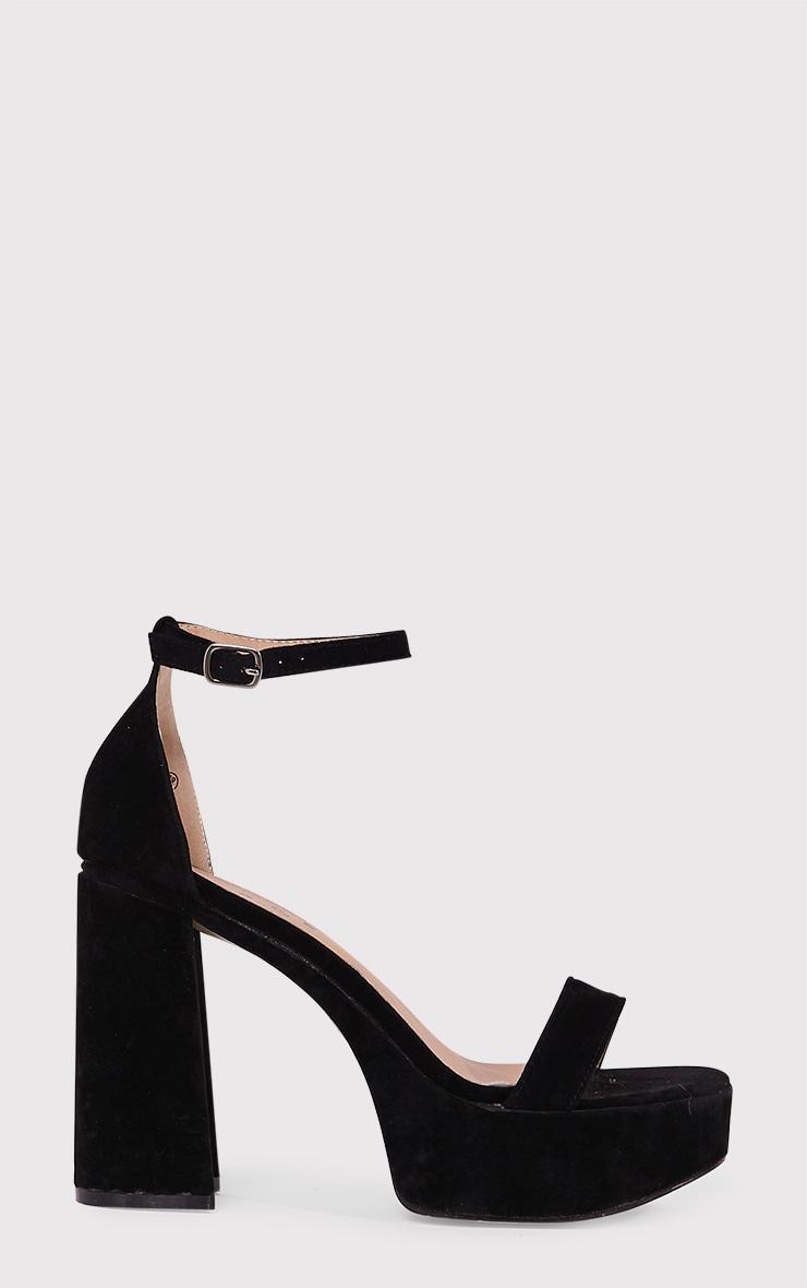 Cyra Black Faux Suede Platform Strappy Heels 1