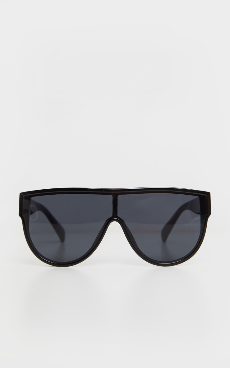 Black Tinted Oversized Flat Top Sunglasses 2