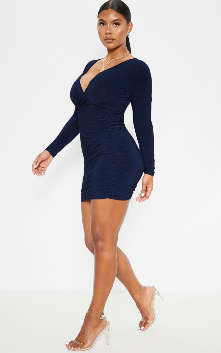 Navy Slinky Wrap Bust Ruched Side Bodycon Dress 4
