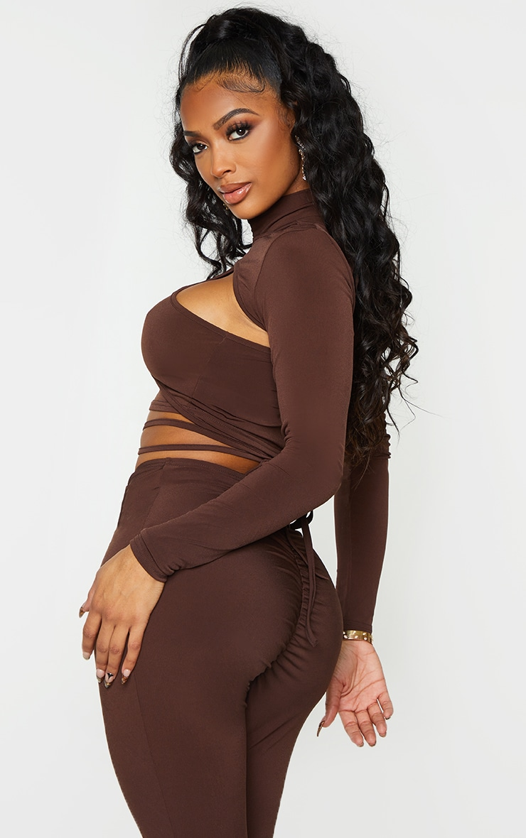 Shape Chocolate Brown Slinky High Neck Cut Out Strap Detail Crop Top 2