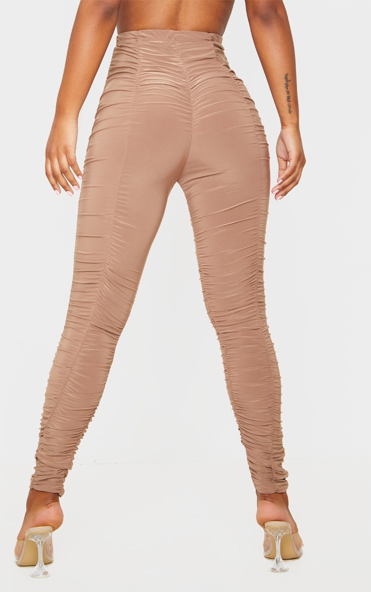 Camel Slinky Ruched Leggings 4