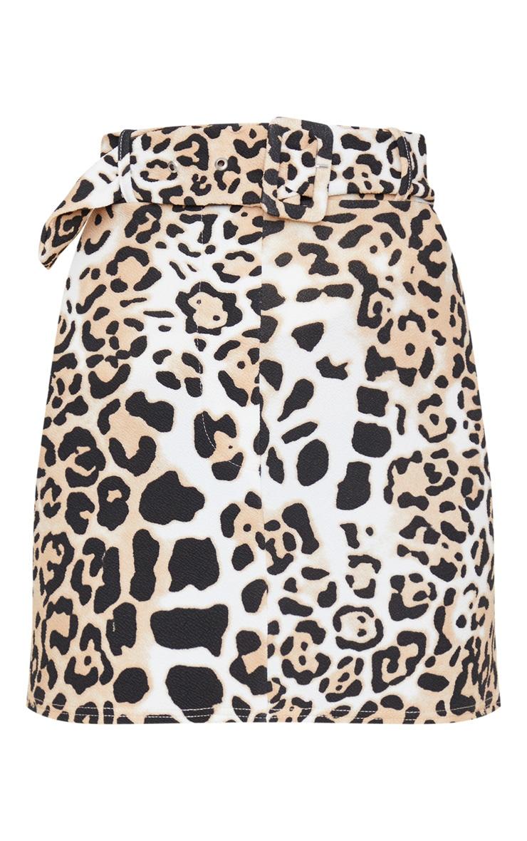 Tan Leopard Print Belted Mini Skirt 3