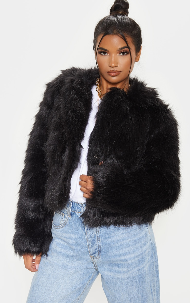 Black Faux Fur Jacket 1