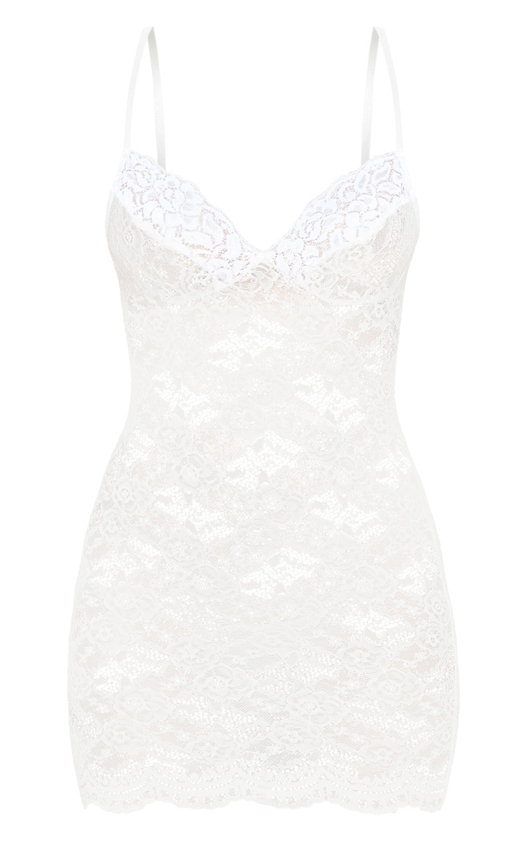White Lingerie Lace Slip Dress 3